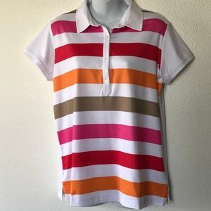 Adidas Golf Climacool Polo Shirt Large Striped S/S